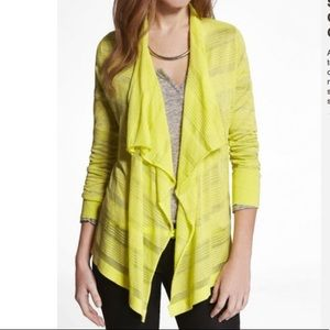 Express Neon Shadow Stripe Cascade Front Cardigan